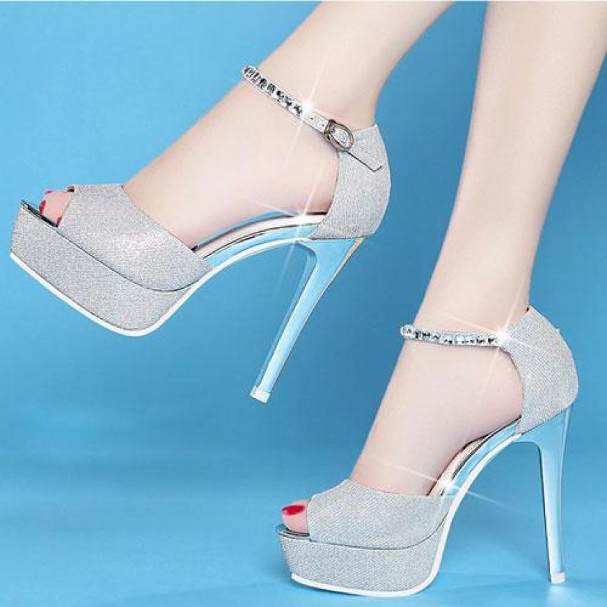 Giày cao gót, đế nhọn, 10 phân, hở mũi, quai đá Korea - A536 giá rẻ