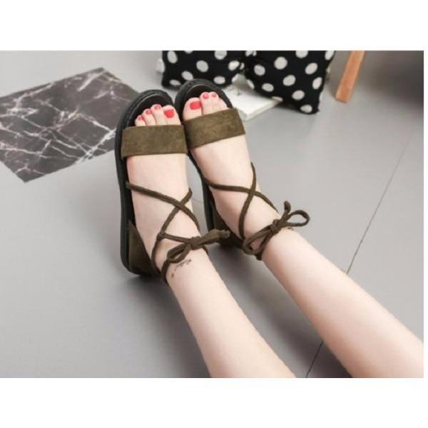 Giày sandal quai ngang nhung dây chéo cột nơ RÊU
