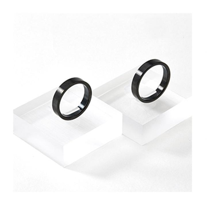 Nhẫn cặp titan mạ carbon đen trơn bóng giá 1 cặp NC132