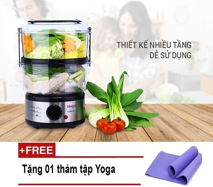 Hình ảnh Máy Hấp Thực Phẩm Magic Korea A64 2018 (Xám) Tặng Kèm Thảm Tập Yoga Sunny Store