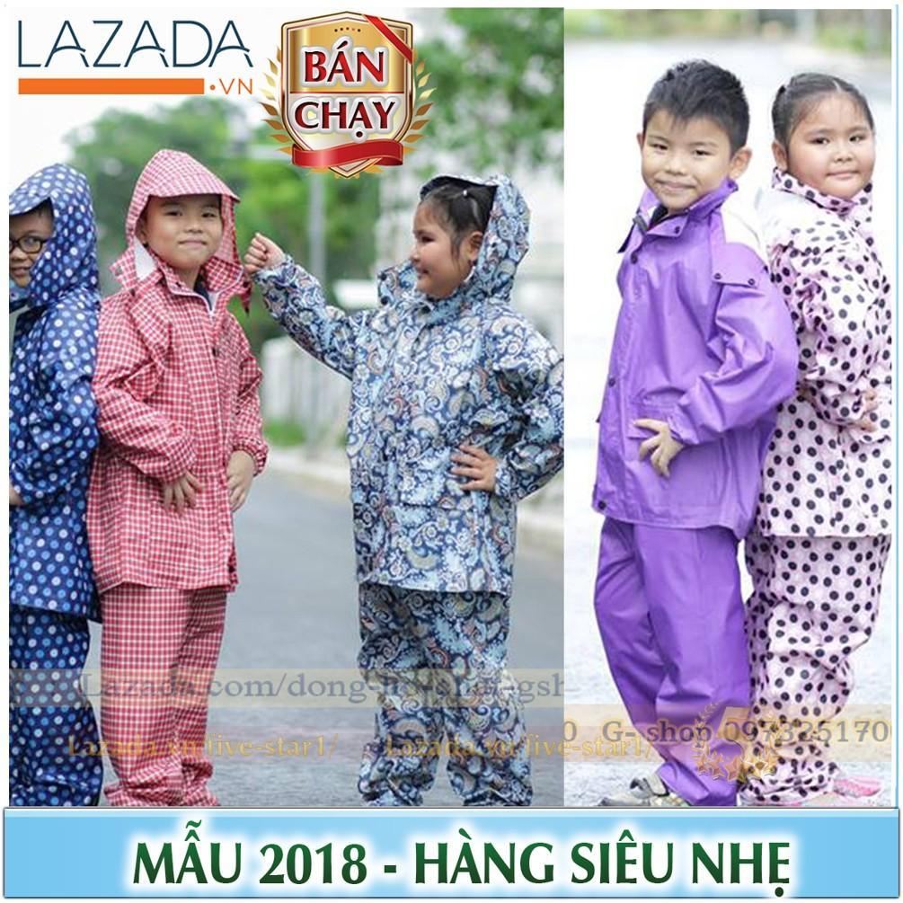 Hình ảnh Bộ quần áo mưa trẻ em cao cấp: Siêu nhẹ - Siêu bền (BO.AOMUA.TE)