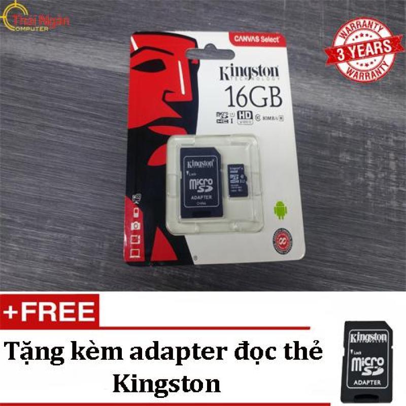 Thẻ Nhớ Kingston 16GB MicroSDHC Canvas Select 80R - Tặng kèm Adapter đọc thẻ