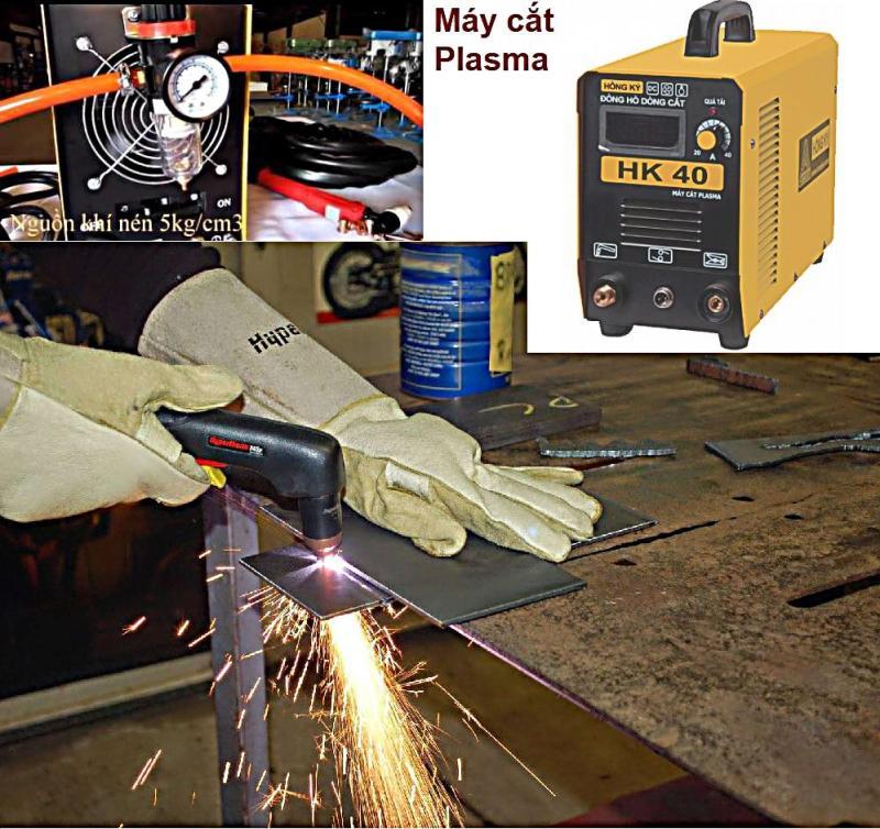 Máy cắt plasma cắt dày 8mm ,nguồn điện dận dụng 1 pha 180-240V, đồng hồ dòng cắt - Hồng ký HK40