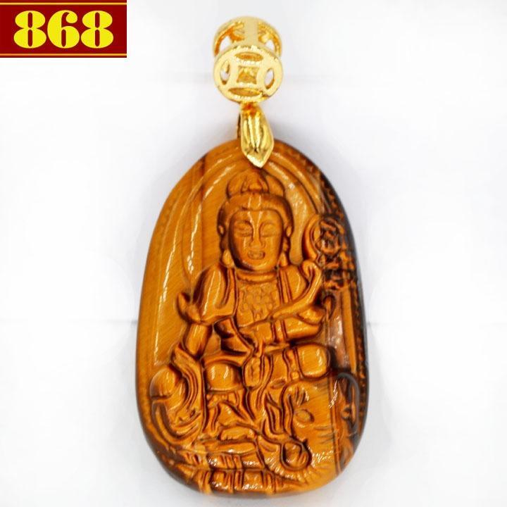 Mặt Phật Bồ tát Phổ hiền đá mắt hổ 3.8cm