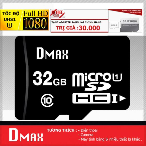 Thẻ nhớ 32GB Dmax Micro UHS1 U1 upto 90MB/s SDHC class 10 - Bảo hành 5 năm+ Tặng Adapter sangsung