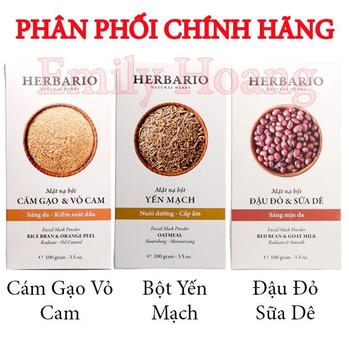Mặt nạ bột đậu đỏ và sữa dê, yến mạch, cám gạo và vỏ cam Herbario đắp mặt nạ - MUA 2 TẶNG 1 SON DƯỠNG MÔI COCOON