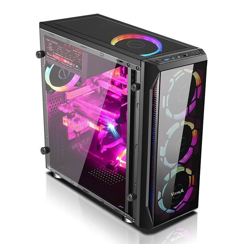 Hình ảnh Vỏ case máy tính Vitra S7 Black - 1 Mặt kính trước Không Fan