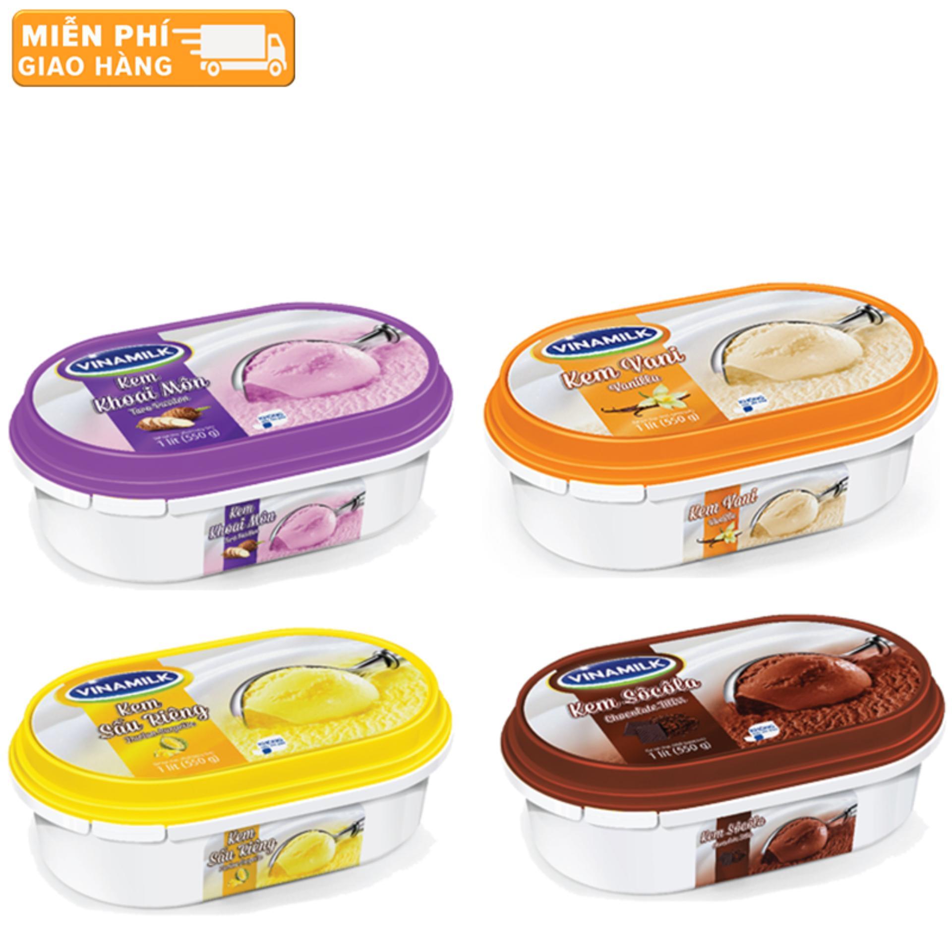 Bộ 4 hôp kem Vinamik 1L các vị Sầu Riêng - Socola - Khoai Môn - Vani