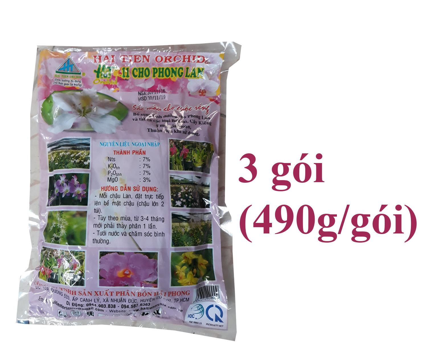 3 gói Phân túi lọc cho phong lan Hải Tiên Dưỡng (490g/gói).