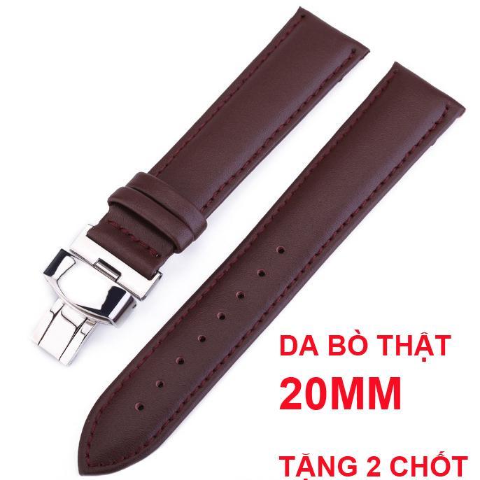 Nơi bán Dây đồng hồ da bò mịn cao cấp OL-801 size 20mm ( Da bò Nâu) kèm khóa bướm thép không gỉ 316L (Trắng)