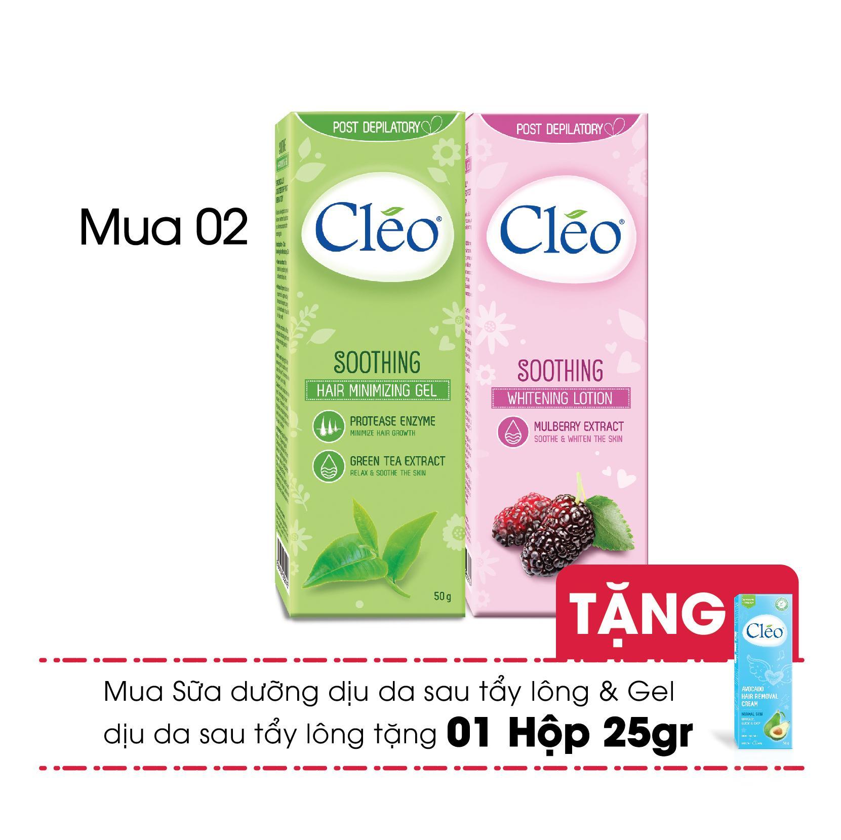 Combo Sữa dưỡng dịu da sau tẩy lông Cléo trắng sáng da 50g + Gel Dịu Da Sau Tẩy Lông Cléo Giúp Chậm Mọc Lông (50g) - Tặng 1 Cleo 25gr