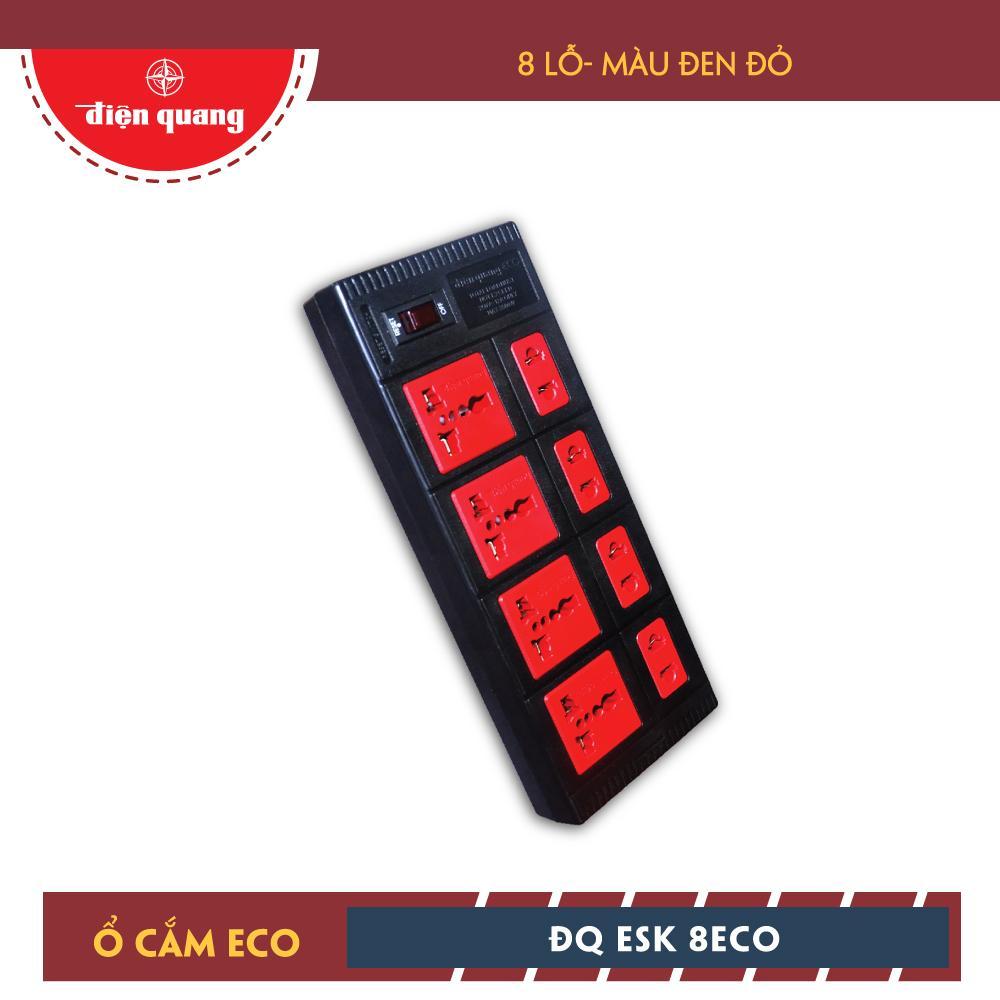 Ổ cắm Điện Quang ECO ĐQ ESK 5BR 8ECO (8 Lỗ, dây dài 5m, màu đen đỏ)