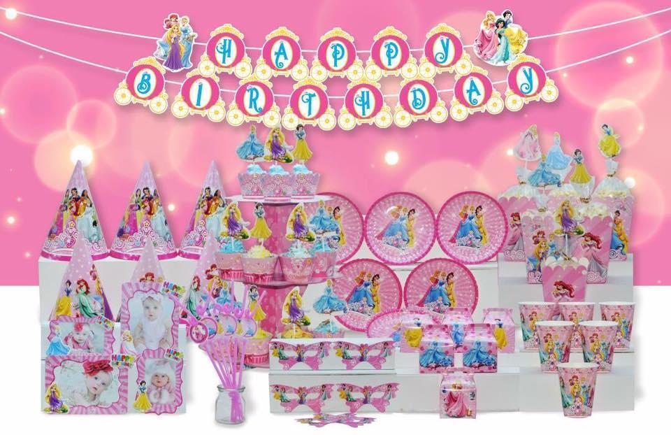 Hình ảnh Set trang trí sinh nhật đầy đủ - miniset công chú disney