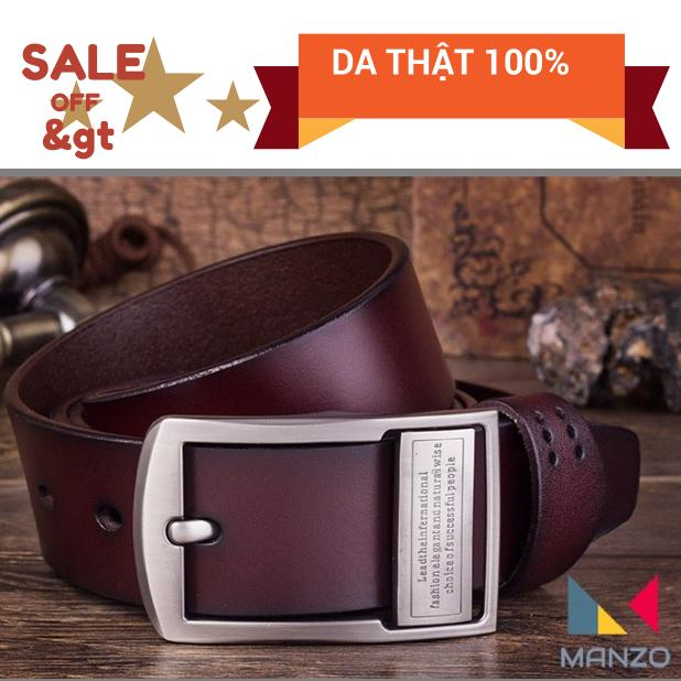 Thắt lưng nam, dây nịt nam da bò THẬT 100% khóa kim chữ cao cấp Manzo 101, Bảo hành 1 năm