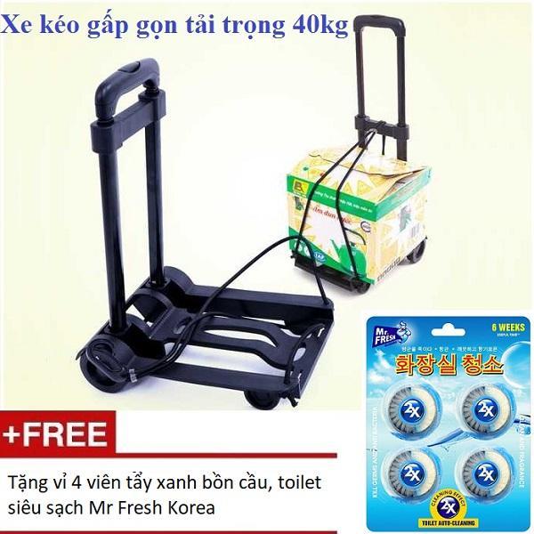 Xe kéo hàng gấp gọn tải trọng 40kg + Tặng 1 vỉ 4 viên tẩy xanh bồn cầu, toilet siêu sạch Mr Fresh Hàn Quốc HH823
