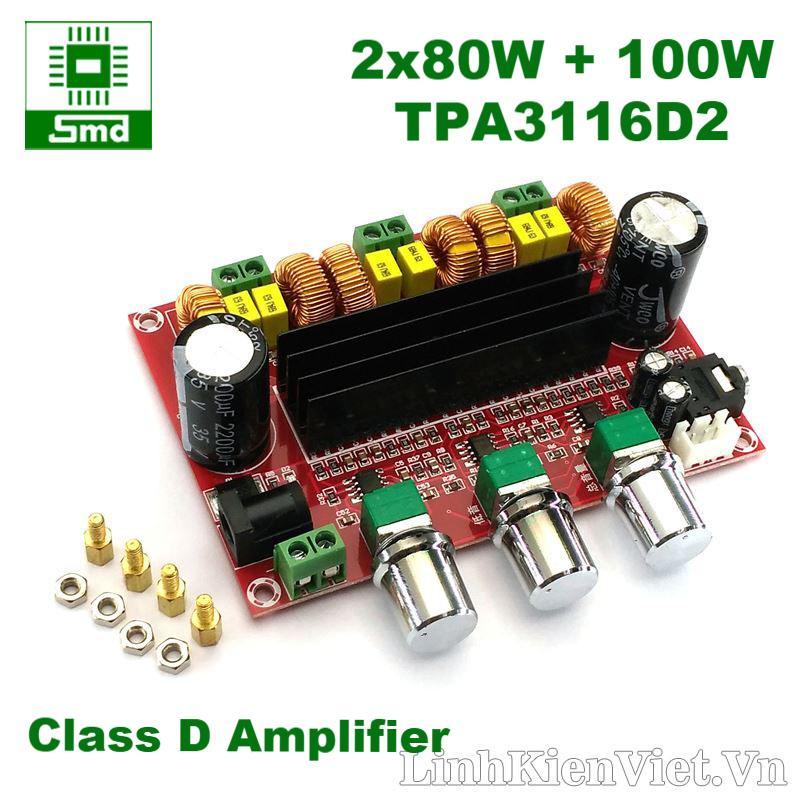 Mạch khuếch đại âm thanh classD 2.1 2x80W + 100W TPA3116D2