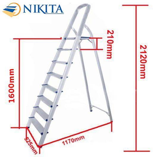 Thang nhôm tay vịn 8 bậc1.6m Nikita NHẬT BẢN AL08
