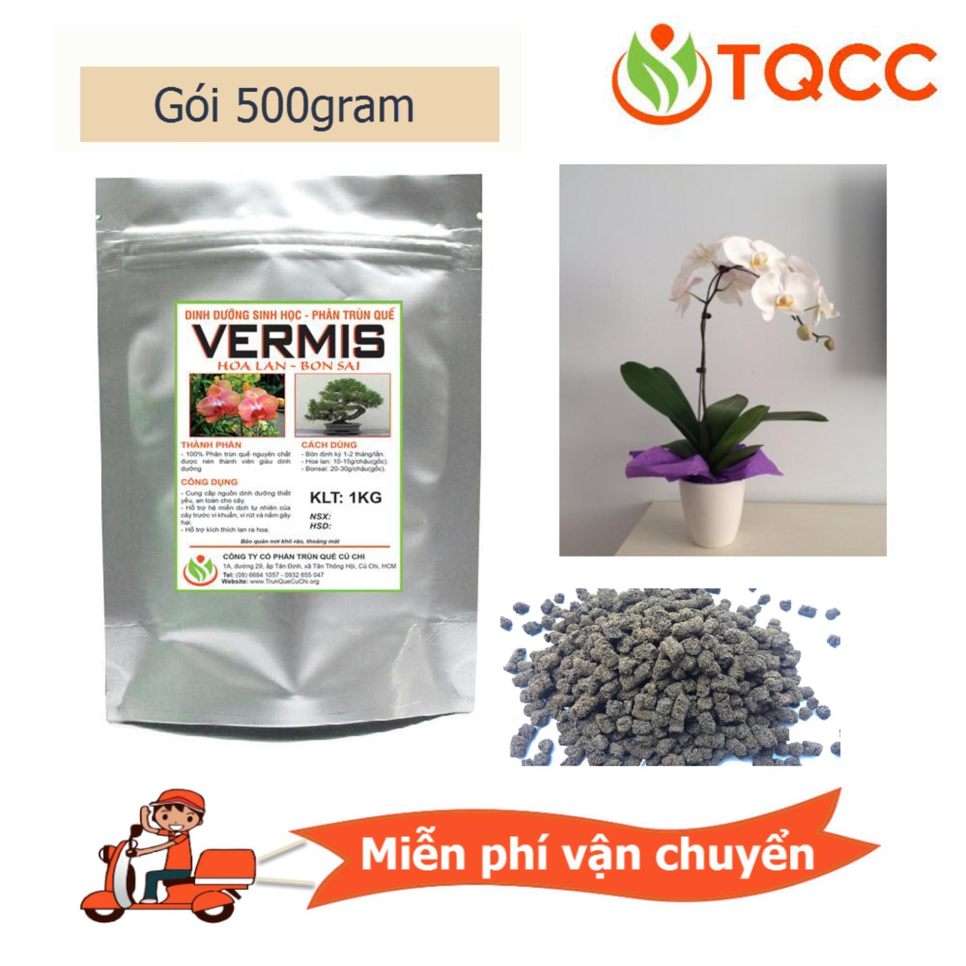 Hình ảnh Phân viên hữu cơ vi sinh tan chậm Vermis cho hoa lan ra hoa ra chồi ra rễ gói 500 gam