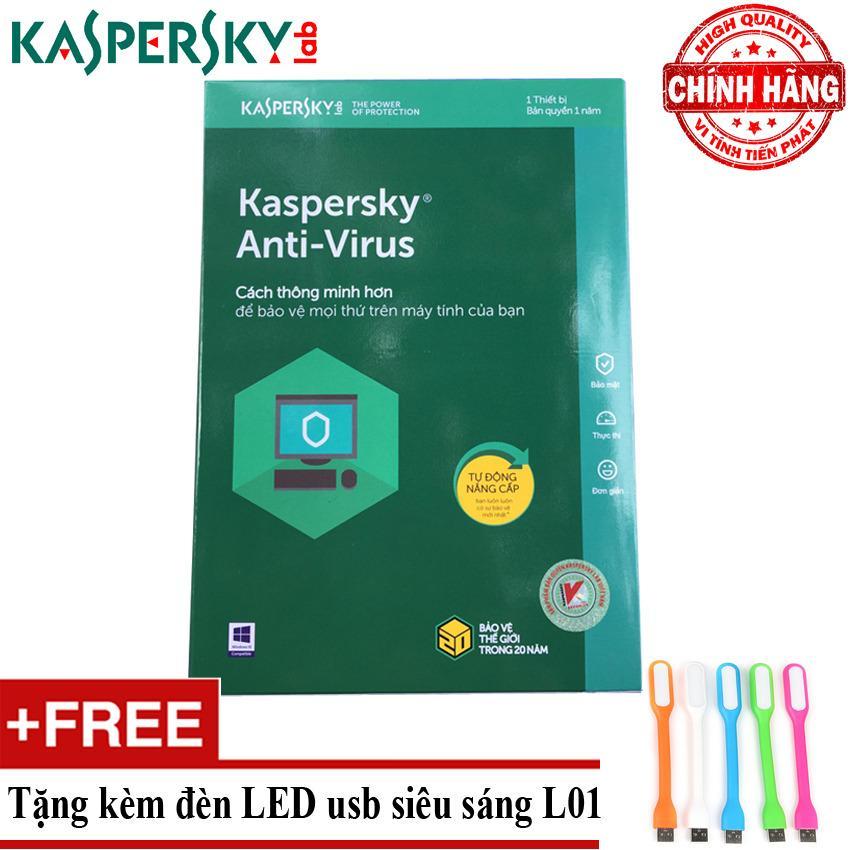 Hình ảnh Phần mềm diệt virus Kaspersky Antivirus 2018 1PC + Tặng đèn LED usb mã L01