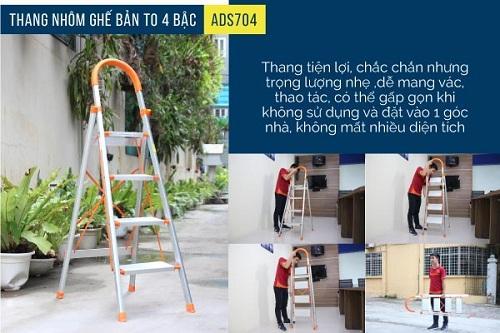 Hình ảnh Thang nhôm ghế bản to 4 bậc ADVINDEQ ADS-704