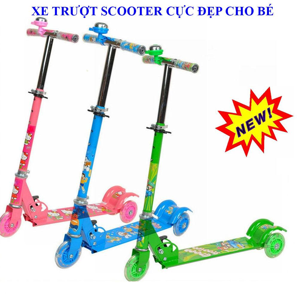 Hình ảnh Xe scooter cho bé 3 tuổi , Xe trượt trẻ em scooter - Xe trượt scooter 3 bánh phát sáng cho bé cực đẹp, tặng kèm chuông báo sành điệu, độc đáo, ngộ ngĩnh, an toàn - Bảo hành 1 đổi 1 uy tín