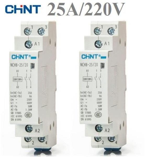 Bộ 2 khởi động từ ,contactor 1 pha CHINT NCH8-25A (trắng)