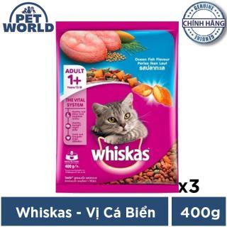 Bộ 3 túi thức ăn cho mèo Whiskas vị cá biển túi 400g thumbnail