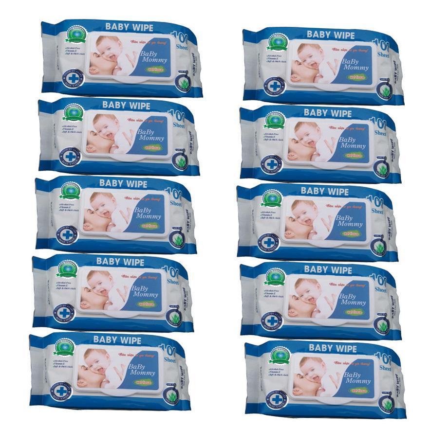 Bộ 10 gói khăn ướt 100 tờ BABYMOMMY thơm dịu nhẹ tự nhiên.
