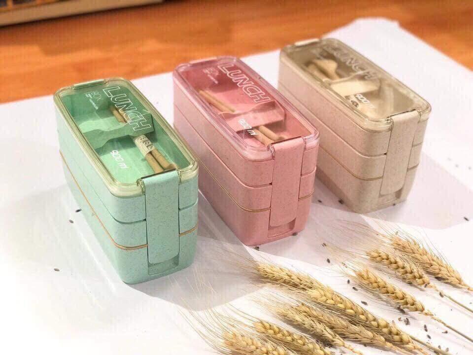 Hộp cơm lúa mạch 3 tầng tặng kèm bộ thìa lúa mạch (giao màu ngẫu nhiên)