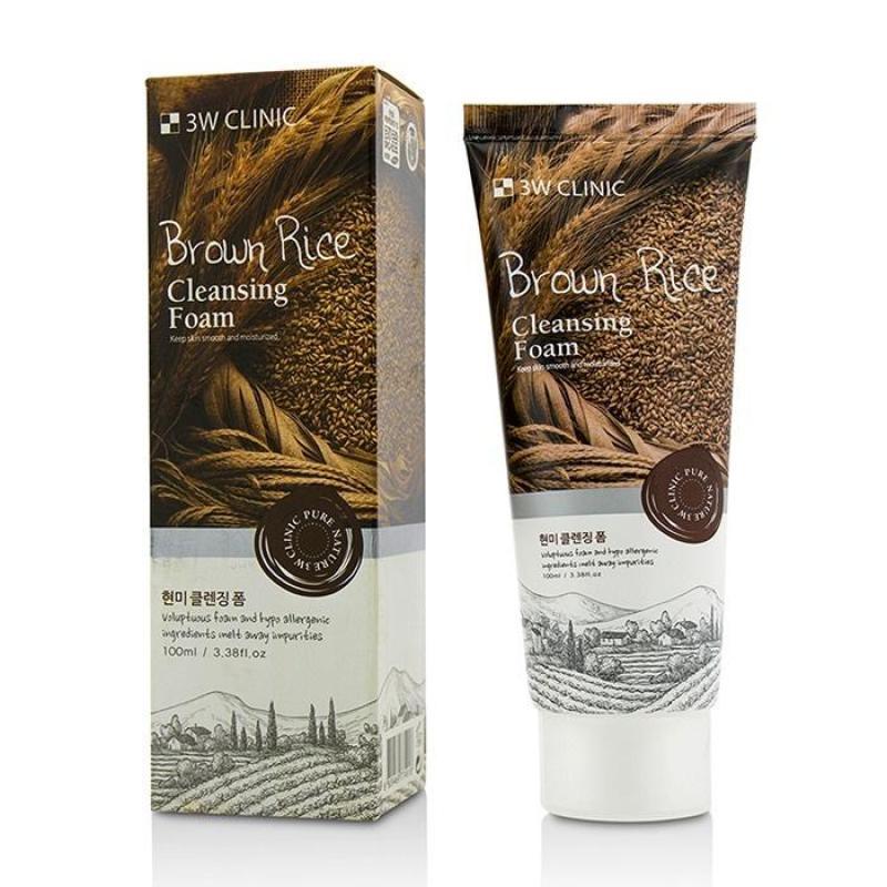 Sữa rửa mặt gạo NEW 3W Clinic Brown Rice Foam Cleansing 100ml nhập khẩu