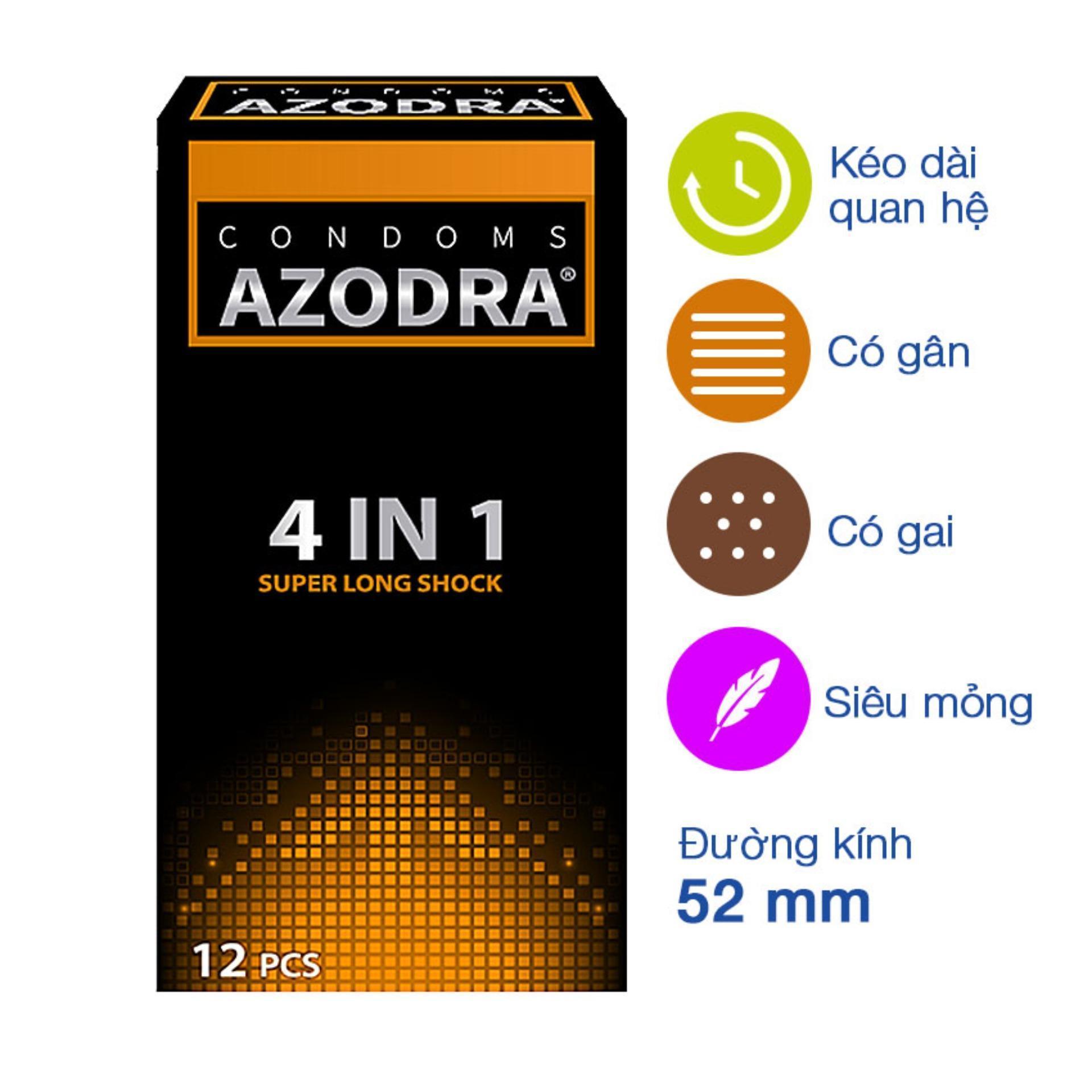Bao cao su tổng hợp gân gai kéo dài thời gian Azodra hộp 12 cái cao cấp