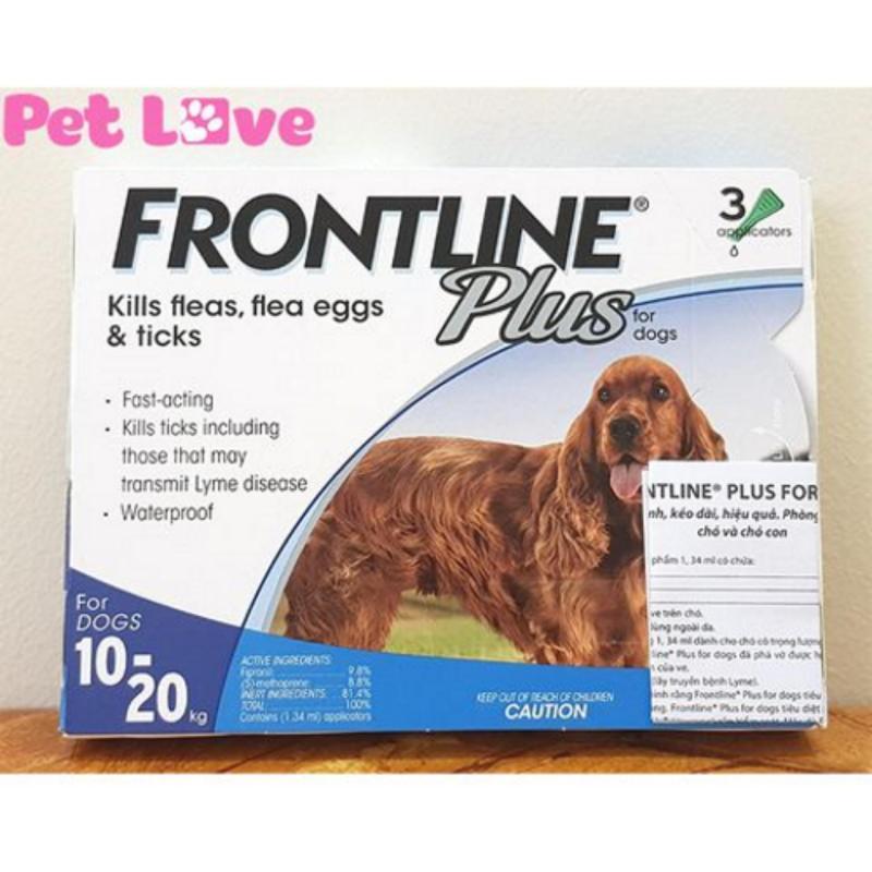 1 hộp Frontline Plus (3 tuýp) nhỏ gáy trị ve rận, bọ chét (chó từ 10- 20kg)