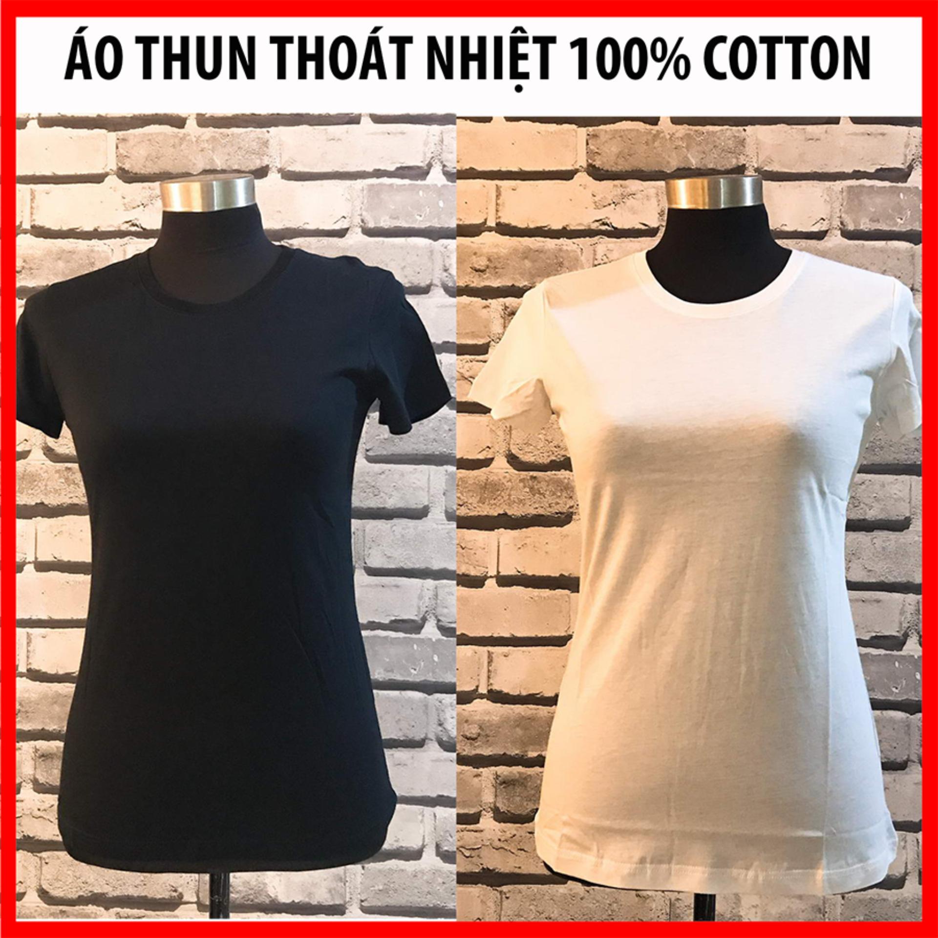 Mã Khuyến Mại 2 Ao Thun Nữ Cao Cấp Ao Thun Nữ 100 Cotton Mau Đen Trắng Oem Mới Nhất