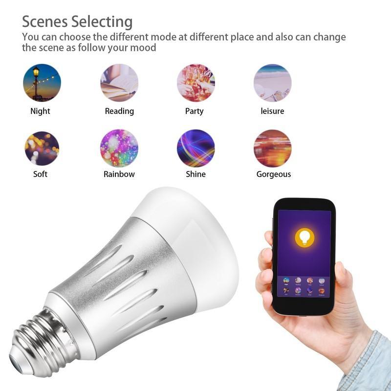 Bòng Đèn Led E27 Đổi Màu Thông Minh SmartLife Điều Khiển Từ Xa APP Smart  Light