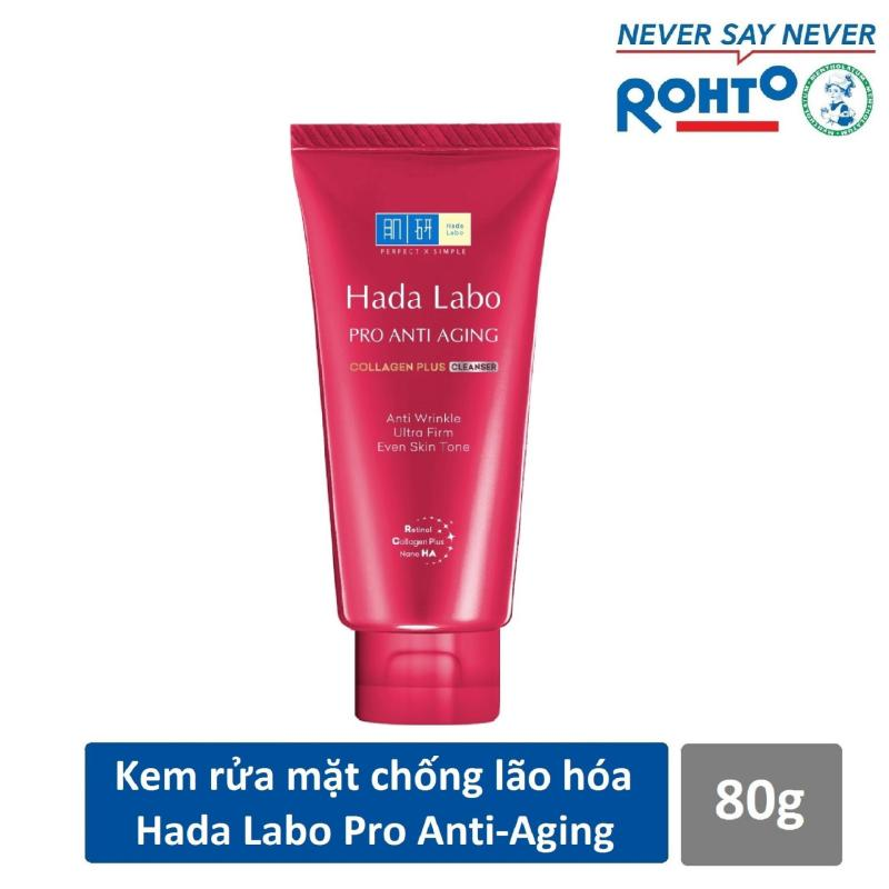 Kem rửa mặt dưỡng chuyên biệt chống lão hóa Hada Labo Pro Anti Aging Cleanser 80g nhập khẩu