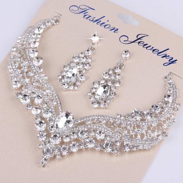 Bộ trang sức nữ trái tim pha lê cao cấp trang sức cô dâu dự tiệc sang trọng