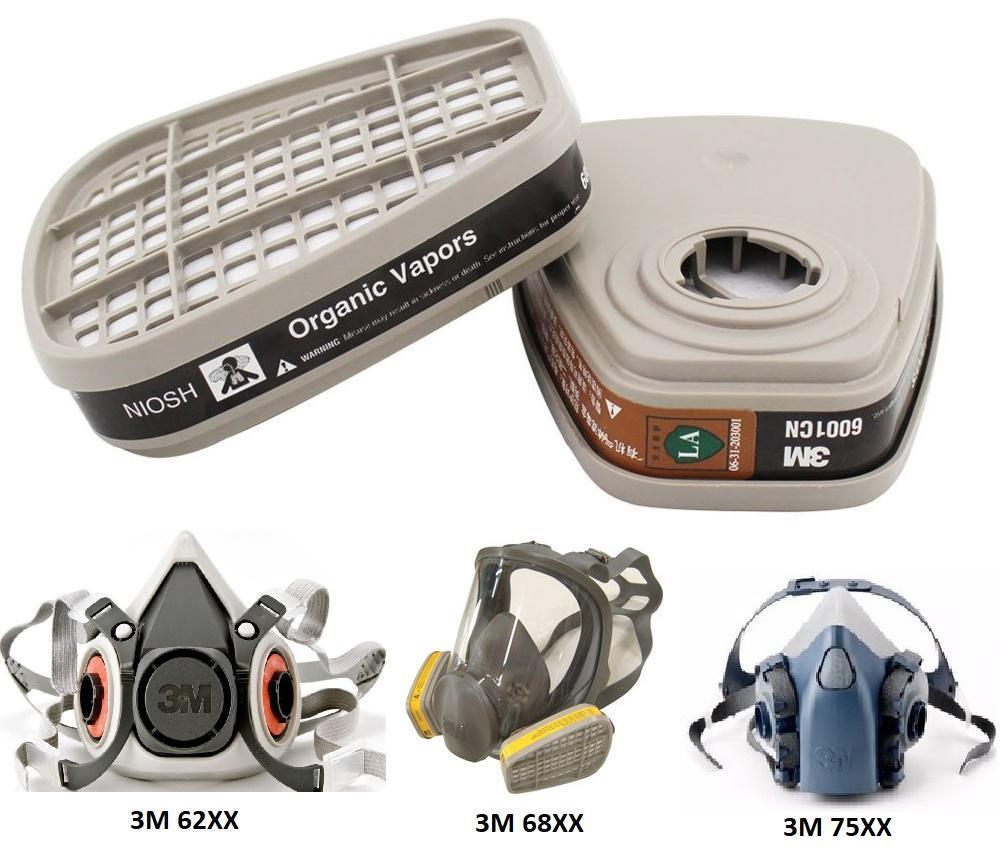 Bộ 2 phin lọc than hoạt tính thay thế cho mặt nạ 3M các dòng 6200 7501 7502 7503 chuyên dụng lọc khói độc, chống cháy, hỏa hoạn