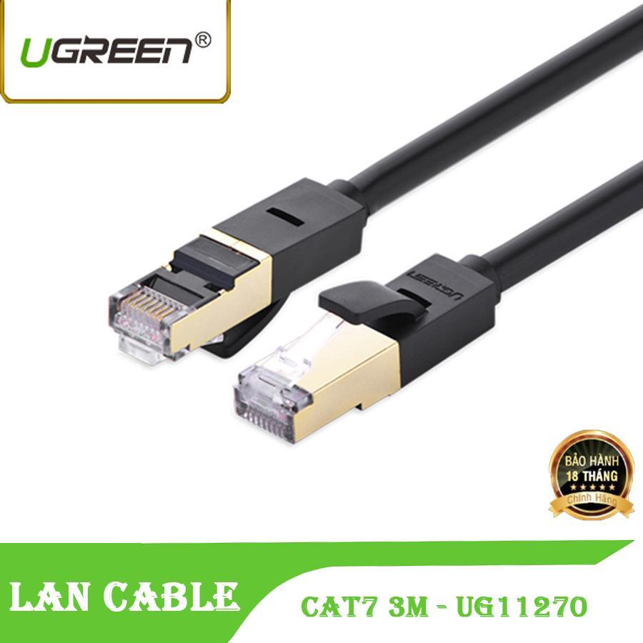 Giá Dây cáp mạng CAT7 UGREEN 2 đầu đúc sẵn bọc hợp kim NW107 - UG 11270 dài 3M màu đen