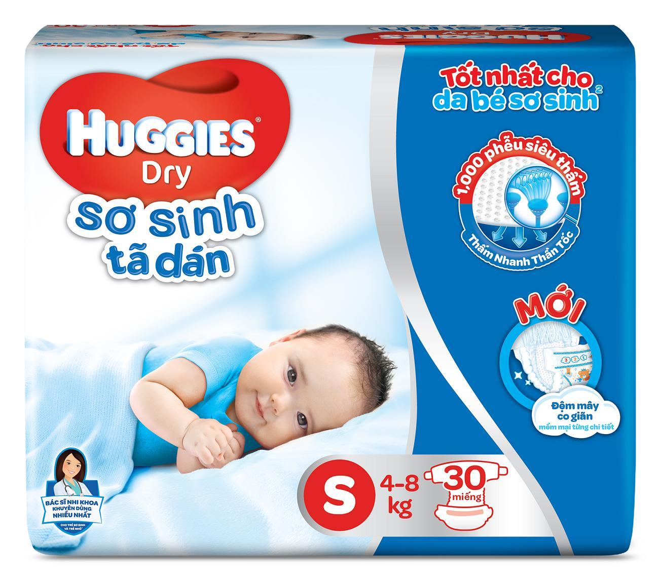 Tã/Bỉm Dán Sơ Sinh Huggies Dry S30 (Đệm Mây Co Giãn) - Gói 30 Miếng - Cho Bé 4Kg-8Kg