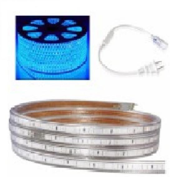 Bộ 30m đèn Led dây 5050/220V màu xanh dương và 1 đầu nối dây nguồn