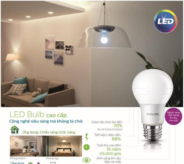 Bóng đèn Philips LED ESS Bulb 5W đuôi E27 230V A60 ánh sáng (Trắng,Vàng)
