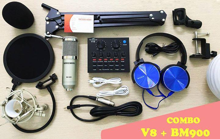Hình ảnh Bộ thu âm live stream sound card V8 bản tiếng Anh, Micro Bm 900 đầy đủ phụ kiện bảo hành 6 tháng đổi mới ( tặng tai nghe sony XB450)