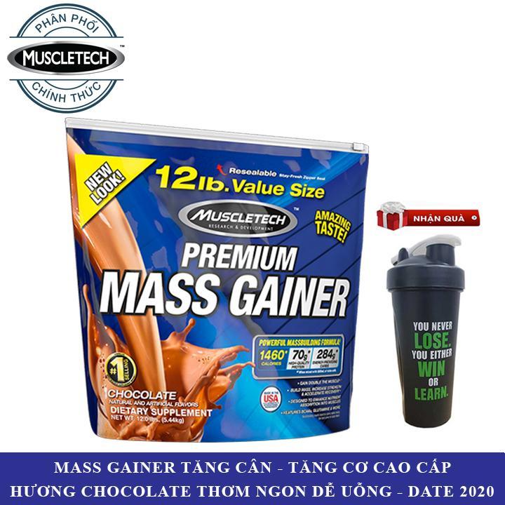 [TẶNG BÌNH LẮC] Sữa tăng cân tăng cơ Premium Mass Gainer của Muscle Tech hương Chocolate bịch lớn 5.4kg - Phân phối chính thức