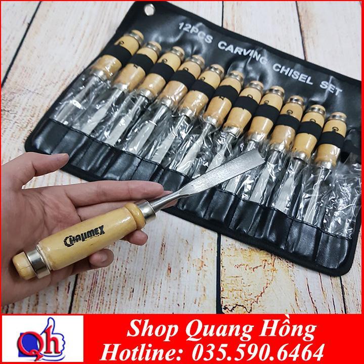 Bộ 12 mũi dao đục, khắc gỗ các loại chuyên dụng dài 200mm