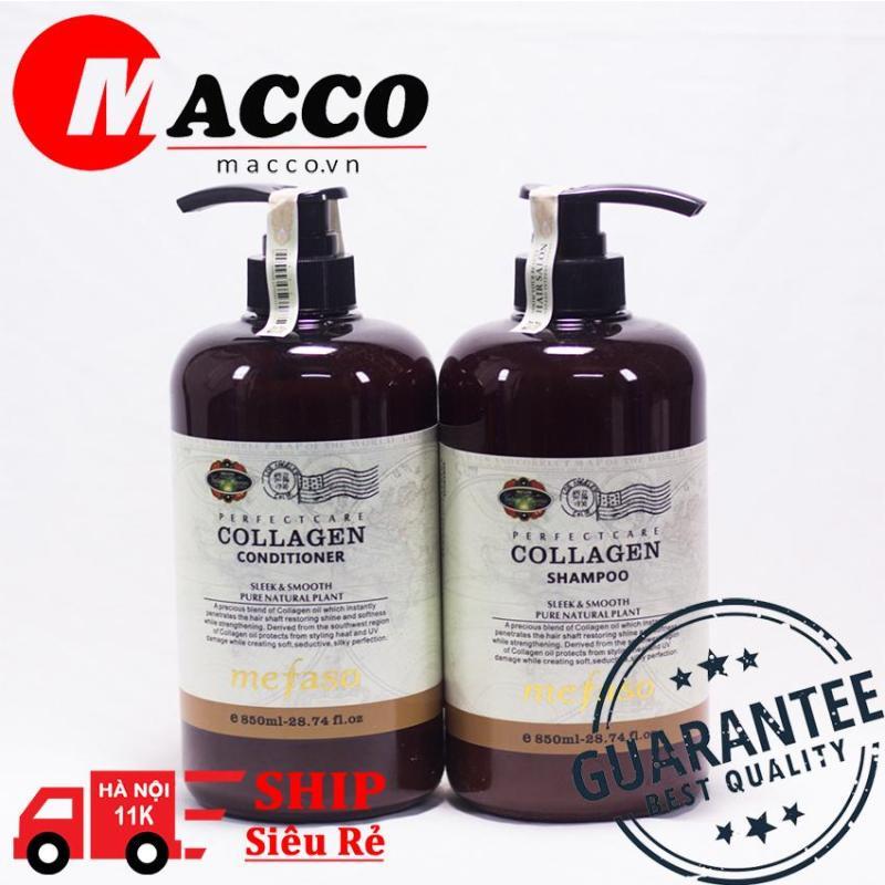 Cặp dầu gội xả Collagen Mefaso Italy ( 850ml x 2) siêu mềm mượt, phục hồi mái tóc hư tổn đến 99% giá rẻ