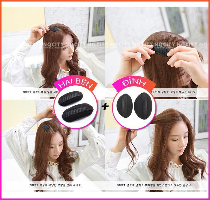 Combo 2 bộ đệm làm phồng tóc đỉnh và 2 bên - cách đơn giản để có mái tóc phồng đáng yêu