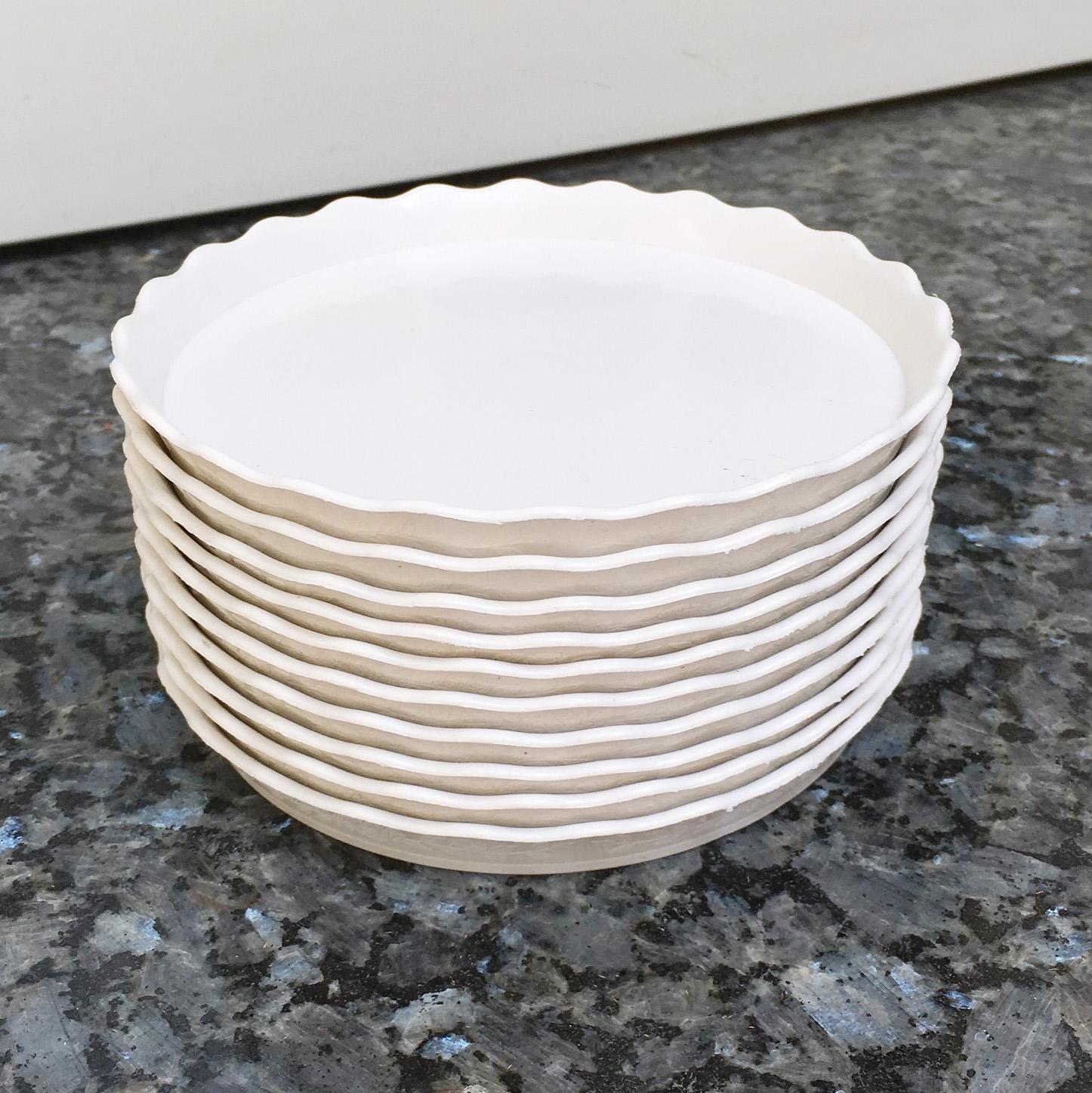 Bộ 10 đĩa lót chậu màu trắng đường kính 15cm