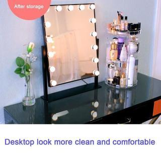 Kệ trang điểm mini, cách làm tủ trang điểm - sánh ngang với dòng sp WXOAY- ser 877 - kệ đựng mỹ phẩm xoay 360 độ nhựa giá tốt thumbnail