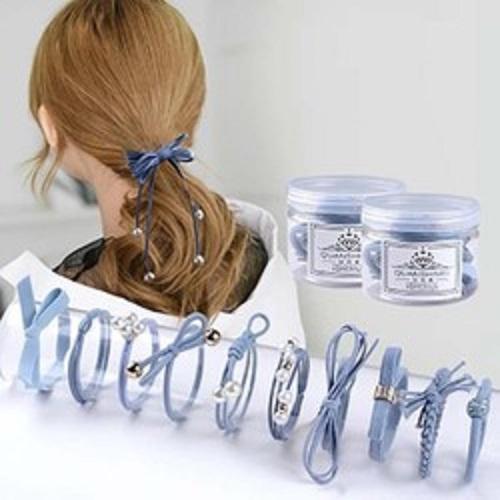 Combo 2 Hộp dây buộc tóc,cột tóc kiểu hàn cao cấp có đính hạt (12 dây/ hộp)