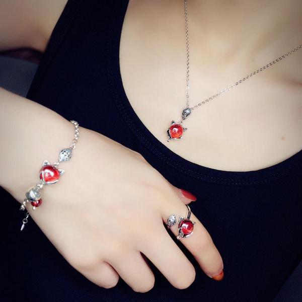 Bộ Trang Sức Bạc Hồ Ly Thạch Anh Lựu - Lắc Tay Hồ Ly - Nhẫn Hồ Ly Bảo Ngọc Jewelry